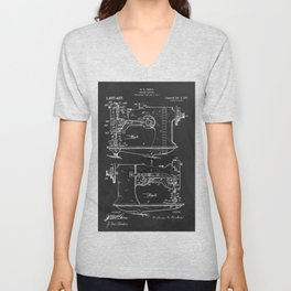 Sewing Machine 1916 Patent Print Unisex V-Neck