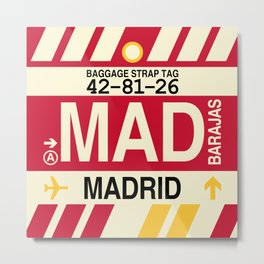 MAD Madrid • Airport Code and Vintage Baggage Tag Design Metal Print
