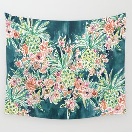 PINEAPPLE PARTY Lush Tropical Boho Floral Wall Tapestry