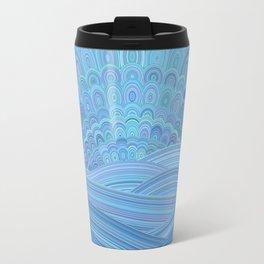 Blue Mandala Sunset at the Ocean Travel Mug