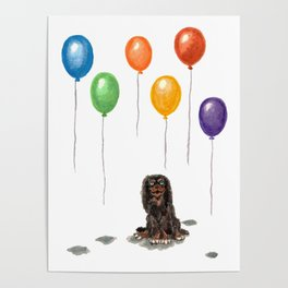Toy Spaniel with balloons Poster