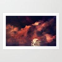 swan Art Prints featuring Swan by MikakoskArts