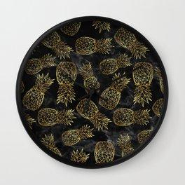 Modern geometric gold pineapples design Wall Clock