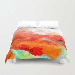 modern abstract Poppies Duvet Cover