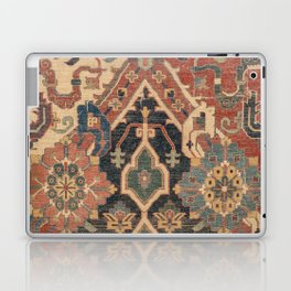 Geometric Leaves I // 18th Century Distressed Red Blue Green Colorful Ornate Accent Rug Pattern Laptop & iPad Skin