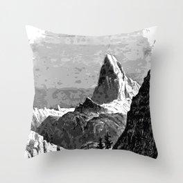 Mountain and Glacier Throw Pillow