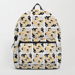Yellow and Black Abstract Geometric Shape Grid Backpack