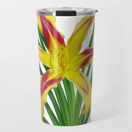 Daylily Solo - Hemerocallis 'Free Wheelin' on white Travel Mug