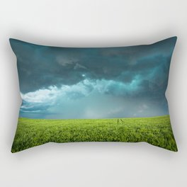 April Showers - Colorful Stormy Sky Over Lush Field in Kansas Rectangular Pillow