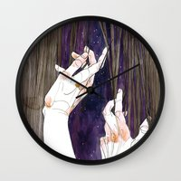 fabric Wall Clocks featuring Fabric by Jana Heidersdorf Illustration