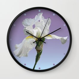 White Iris (Lavender) Wall Clock