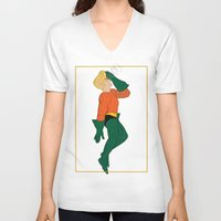 aquaman V-neck T-shirts featuring Aquaman by logicasOcenenie