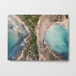 A drone shot of two beaches separated by clay slopes in Malta Metal Print