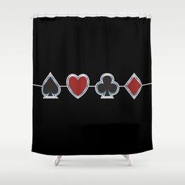 Spades Hearts Clubs Diamonds Shower Curtain