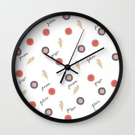 Pizza, Pasta, Gelata. Wall Clock
