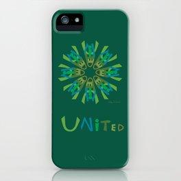 United Mandala with UNITED - Green iPhone Case