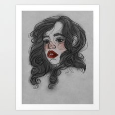 Red Lips, Black Locks Art Print