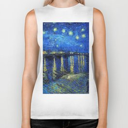 Starry Night Over the Rhone by Vincent van Gogh Biker Tank