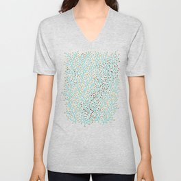 Berry Branches – Turquoise & Gold Unisex V-Neck
