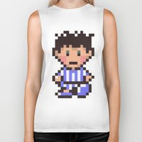 earthbound Biker Tanks featuring Ness (Pajamas) - Earthbound / Mother 2 by Studio Momo╰༼ ಠ益ಠ ༽