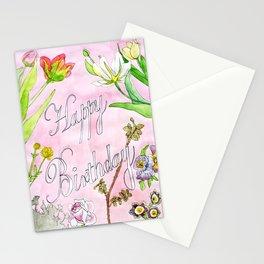Happy Birthday Flowers Stationery Cards