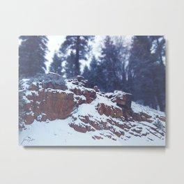 Snowy Rocks Metal Print
