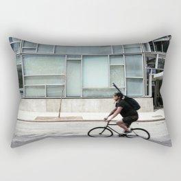 Cyclist riding in New York City Rectangular Pillow