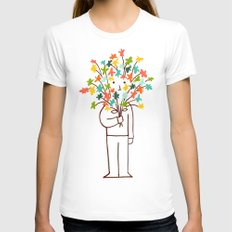 I bring flowers Womens Fitted Tee LARGE White