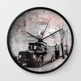 Vintage England London Britain Illustration Pastel Colors Wall Clock