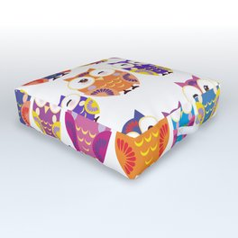 pattern - bright colorful owls on white background Outdoor Floor Cushion
