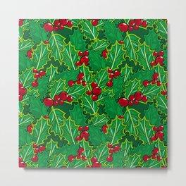 Holly  pattern Metal Print