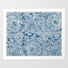 Blue Boho Paisley Pattern Art Print