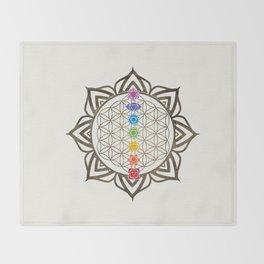 Flower of Life Chakra Healing Mandala Throw Blanket