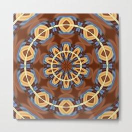 Blue Wood Kaleido Pattern Metal Print