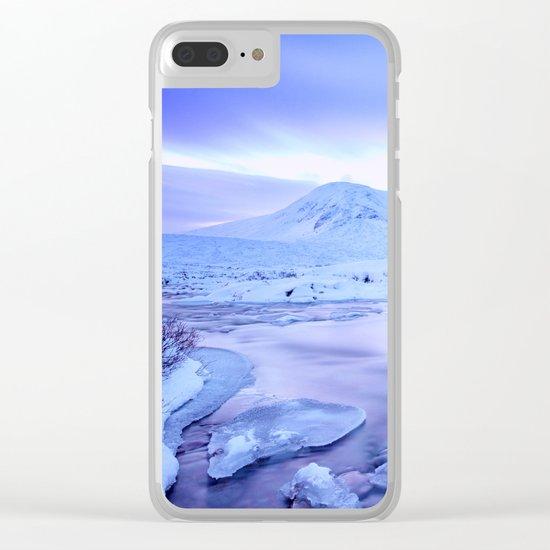 Freezing Mountain Lake Landscape : Blue Clear iPhone Case