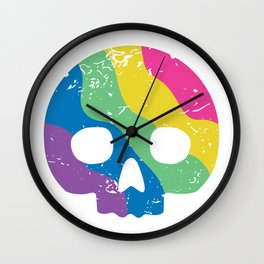 Rainbow Skulldot Wall Clock