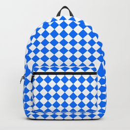 White and Brandeis Blue Diamonds Backpack