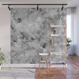 Grey and Silver Veined Faux Marble Repeat Wall Mural