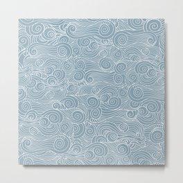 whorl pattern white blue Metal Print