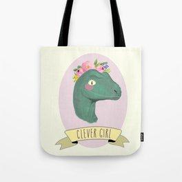 Clever Girl Dinosaur / Jurassic Park / Gift for Her / Boho Baby Animal Nursery Decor / Feminist Tote Bag