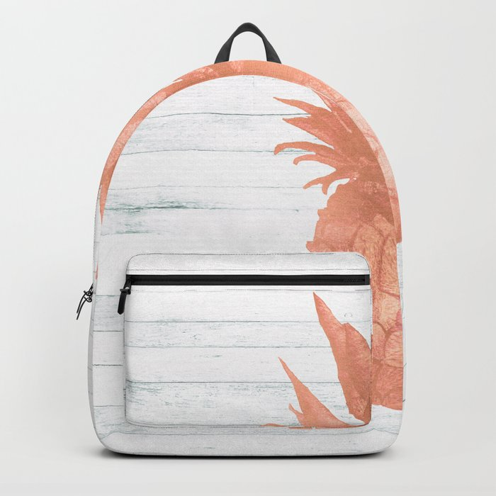 Rose Gold Pineapple on Wood Nautical Decor Backpack