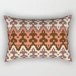 Moroccan Ikat Damask, Brown, Cream Taupe & Rust Rectangular Pillow
