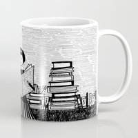 bookworm Mugs featuring Bookworm by kate gabrielle