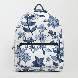 Monochrome Blue Alpine Flora Backpack