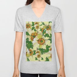 ABSTRACTED APPLE BLOSSOMS PATTERN Unisex V-Neck