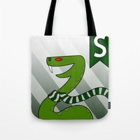 slytherin Tote Bags featuring Slytherin Snake by makoshark