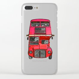 The big red bus. (Painting) Clear iPhone Case