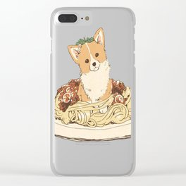 Dog pasta bolognese Clear iPhone Case