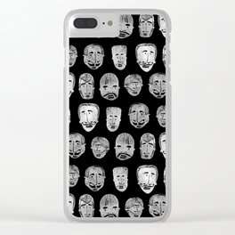 Bearded Bandidos_White on Black Clear iPhone Case