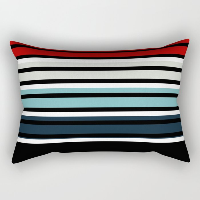 Pattern stripes . Blue , red , white , gray , black . Rectangular Pillow